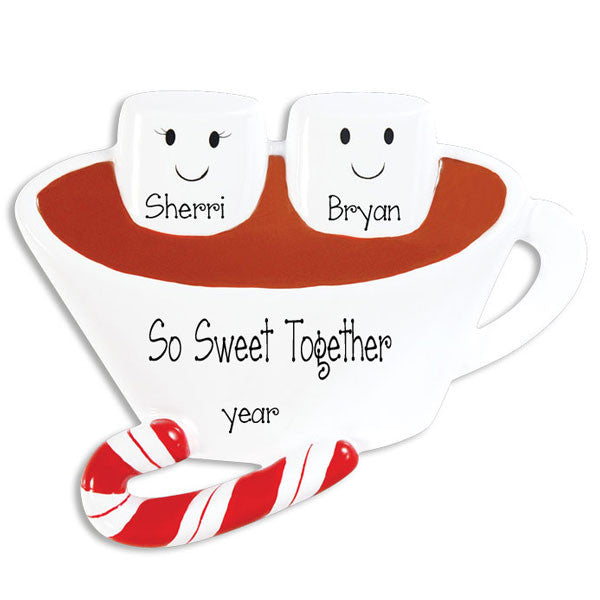 HOT CHOCOLATE COUPLE~Personalized Christmas Ornament