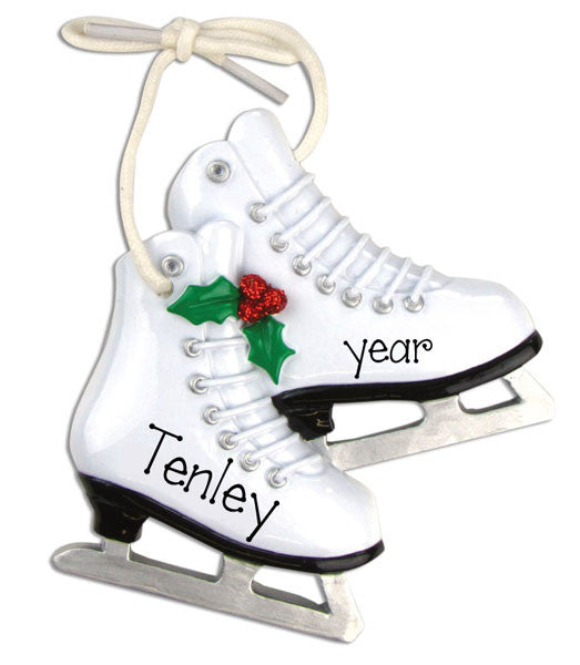 White ICE SKATES~Personalized Christmas Ornament