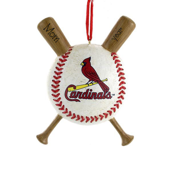 ST. LOUIS CARDINAL baseball and bats, MY PERSONALIZED ORNAMENTS