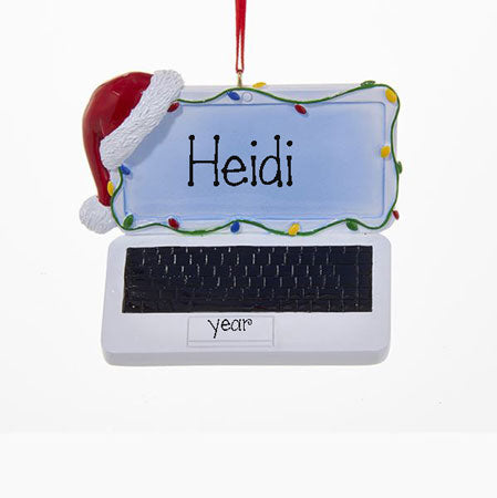 Laptop Computer w/ Santa Hat Ornament