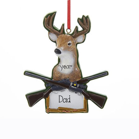 DEER WITH SHOT GUNS and antlers, MY PERSONALIZED ORNAMENTS