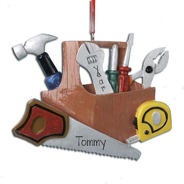 Construction, Handyman, Toolbox ~ Personalized Christmas Ornament