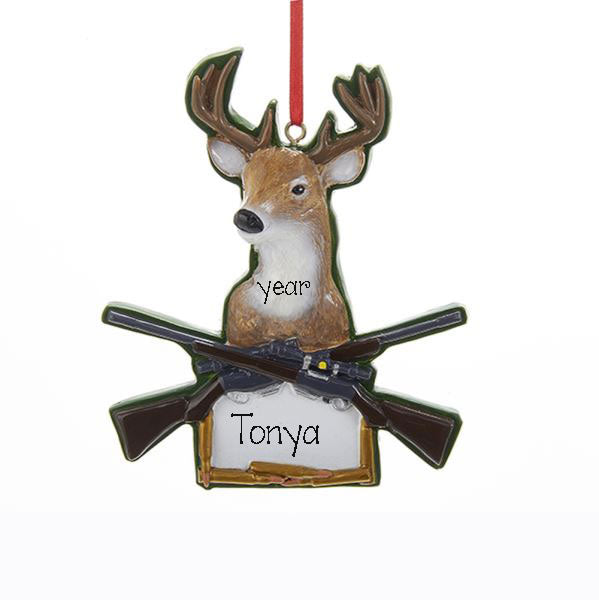 DEER WITH SHOT GUNS, MY PERSONALIZED ORNAMENTS