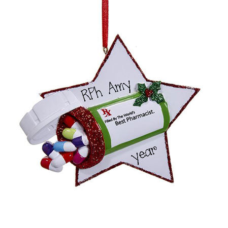 PHARMACIST w/ PILL BOTTLE~Personalized Christmas Ornament