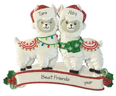 Best Friends Llama wearing red Glitter Santa Hats~Personalized Christmas Ornament