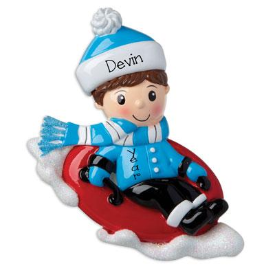 Boy dressed in Blue now Tubing~Personalized Christmas Ornament