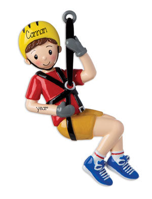 ZipLine Boy~Personalized Christmas Ornament