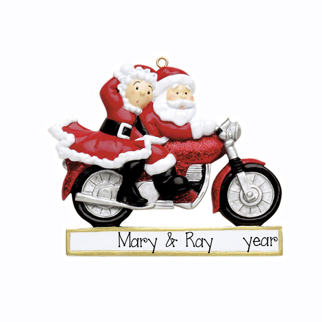 Mr & Mrs Claus Motorcycle Ornament