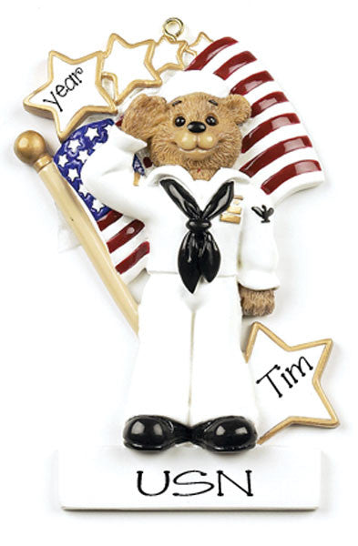NAVY BEAR - Personalized Ornament