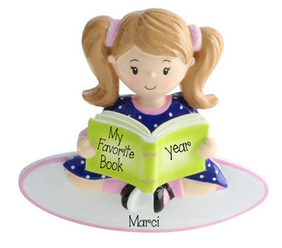 Little Girl in Pigtails Reading a Book-Personalized Ornament