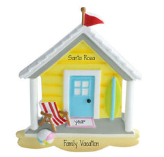Beach House ~ Personalized Christmas Ornament