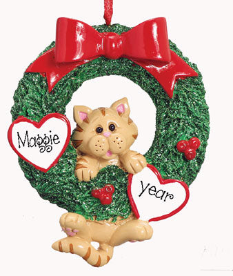 Tabby CAT in Green wreath~Personalized Christmas Ornament