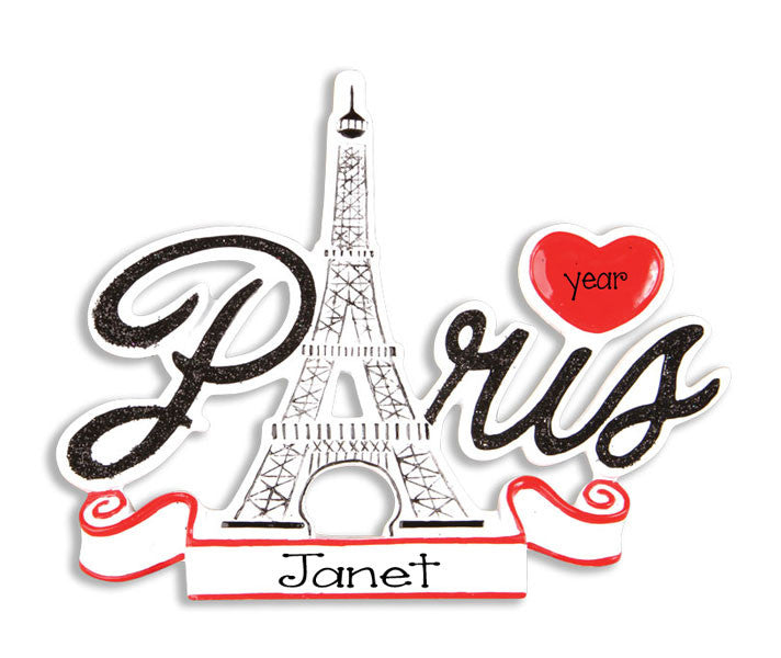 PARIS w/ Eiffel Tower~Personalized Christmas Ornament