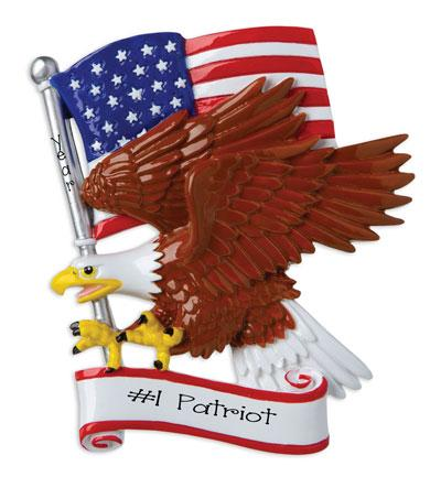 American flag and Bald Eagle~Personalized Christmas Ornament