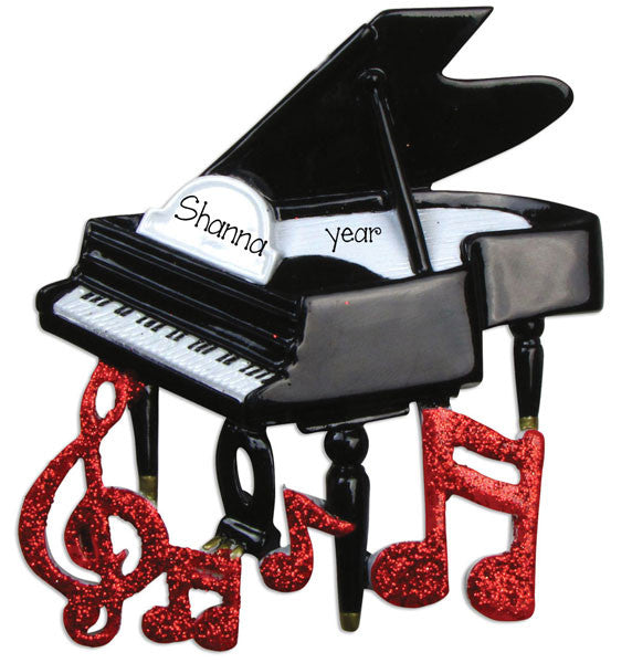 PIANO w/ RED GLITTER NOTES - Personalized Ornament