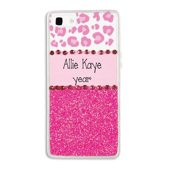 Pink Glitter Cell Phone Personalized Ornament