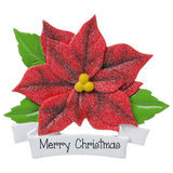 Red Glitter poinsettia- Personalized Christmas Ornament