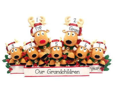 Grandparents with 5 Reindeer Grandchildren~Table Top Decor`