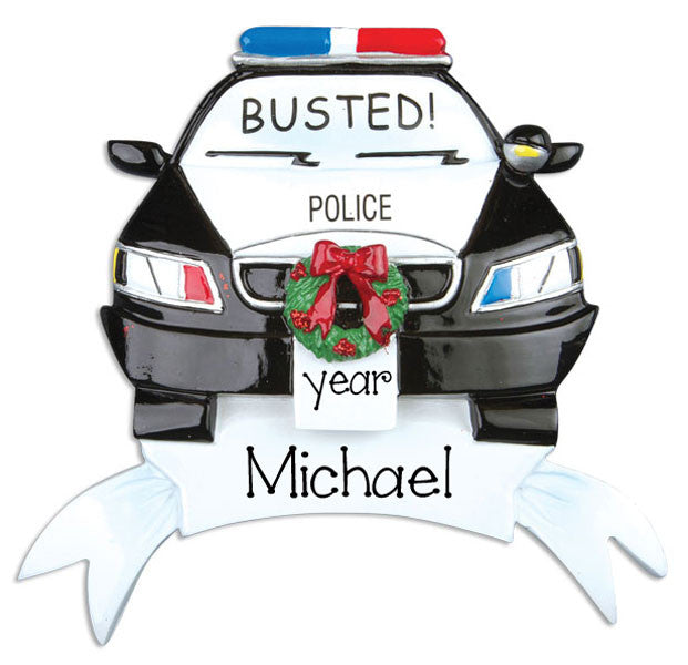 "POLICE CAR ""BUSTED"" - Personalized Ornament"