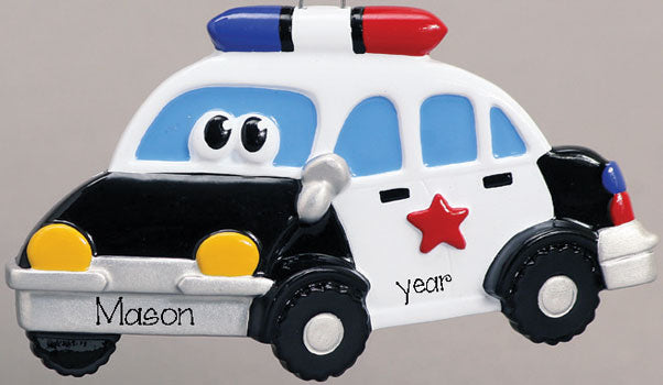 POLICE CAR w/ EYES~Personalized Christmas Ornament