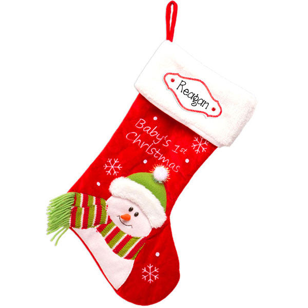 RED BABY'S 1ST CHRISTMAS-PERSONALIZED CHRISTMAS STOCKING