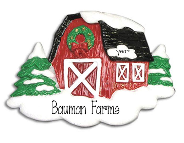 BIG RED BARN - Personalized Christmas Ornament