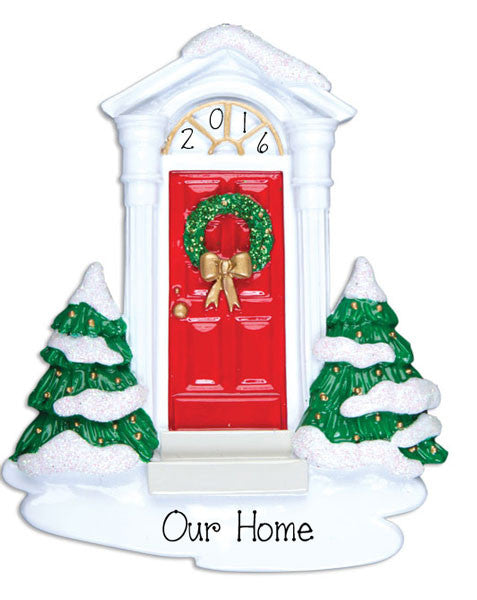 RED DOOR w/ Wreath - Personalized Ornament