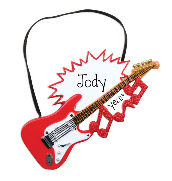 RED ELECTRIC GUITAR ORNAMENT / MY PERSONAALIZED ORNAMENT