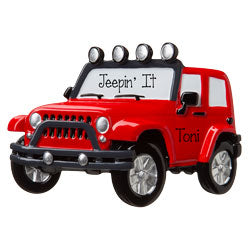RED JEEP 4x4~ Personalized Christmas Ornament