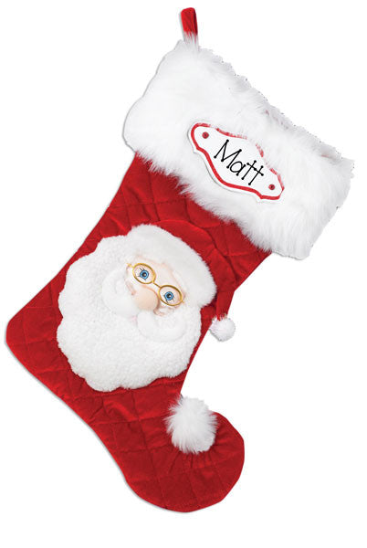 SANTA RED PERSONALIZED CHRISTMAS STOCKING