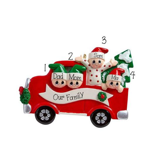 RED TRUCK~Family of 4~Personalized Christmas Ornament