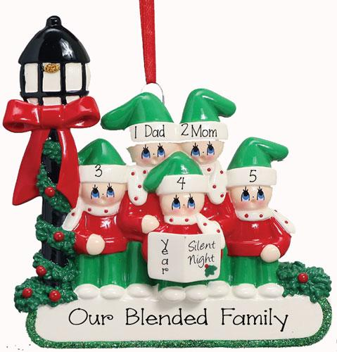 CAROLER~Family of 5~Personalized Christmas Ornament