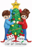 COUPLE decorating the christmas tree ornament, 1ST CHRISTMAS, MY PERSONALIZED ORNAMENTS