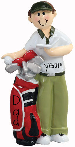 GOLFER FOR DAD WITH A RED GOLF BAG ORNAMENT / MY PERSONALIZED ORNAMENTS