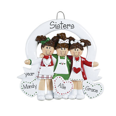 SISTERS for 3 w/ hair bows Ornament