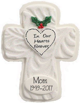 IN OUR HEARTS FOREVER WHITE GLITTER CROSS,  MY Personalized OrnamentS