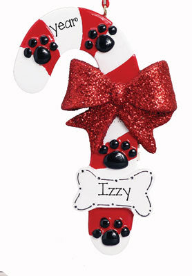 DOG CANDY CANE ORNAMENT / My Personalized Ornaments