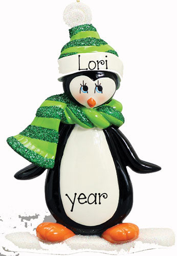 PENGUIN WITH GREEN SCARF AND HAT, My Personalized Ornaments