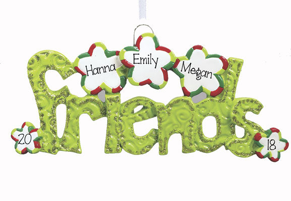 3 FRIENDS IN GREEN GLITTER ORNAMENT, personalized christmas ornament