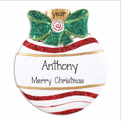 Green Glitter Bow, Personalized christmas Ornament