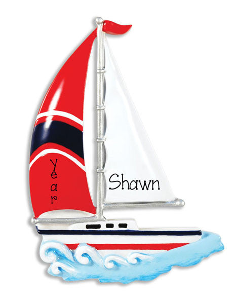 SAILBOAT w/ RED SAIL - Personalized Ornament