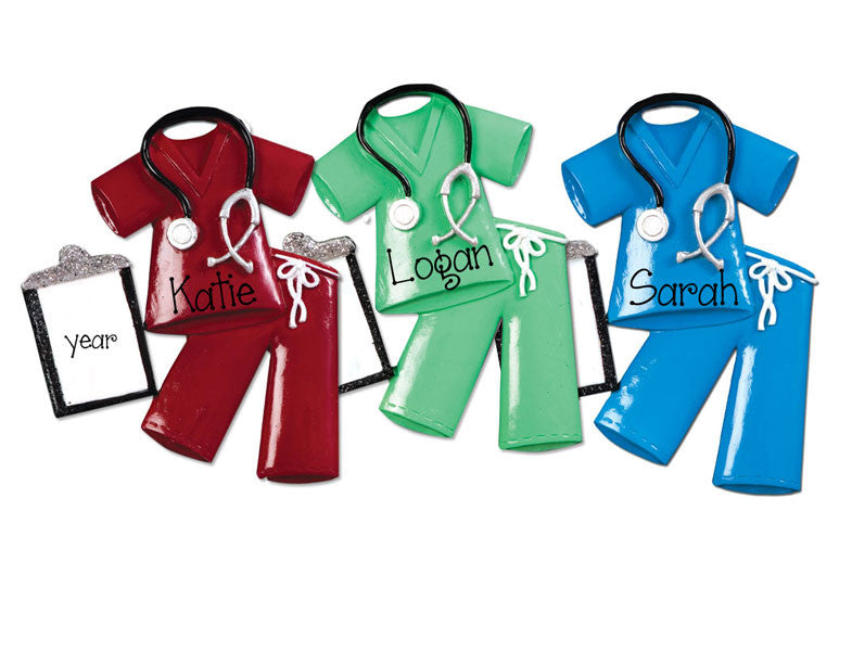 RED, GREEN AND BLUE SCRUBS / MY PERSONALIZED ORNAMENTS