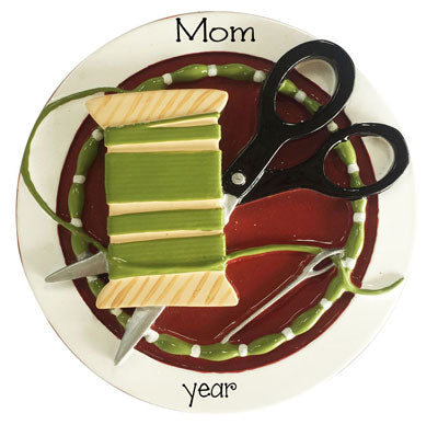 Sewing with needle, Thread and Scissors~Personalized Christmas Ornament