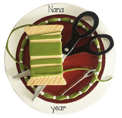 Sewing with needle, Thread and Scissors for Nana or Grandma~Personalized Christmas Ornament