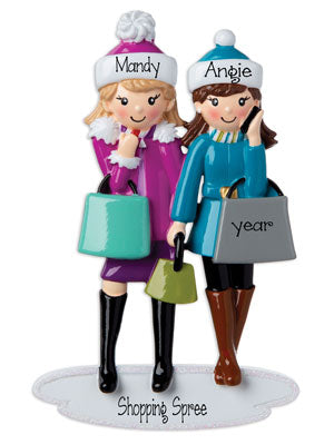 Two Friends on a Shopping Spree~Personalized Christmas Ornament