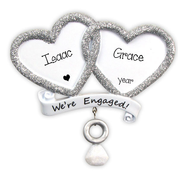 Silver Hearts ENGAGEMENT~Personalized Christmas Ornament