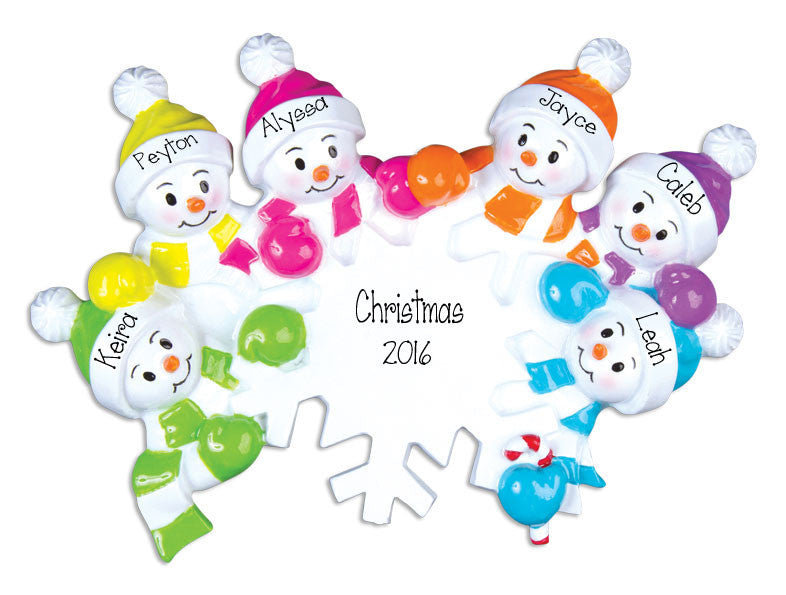 colorful snowmen fOR SIX, personalized Christmas ornament