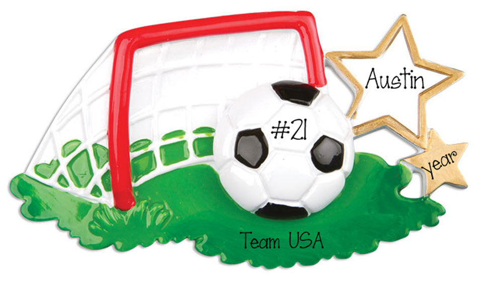 SOCCER BALL w/ GOAL - Personalized Ornament