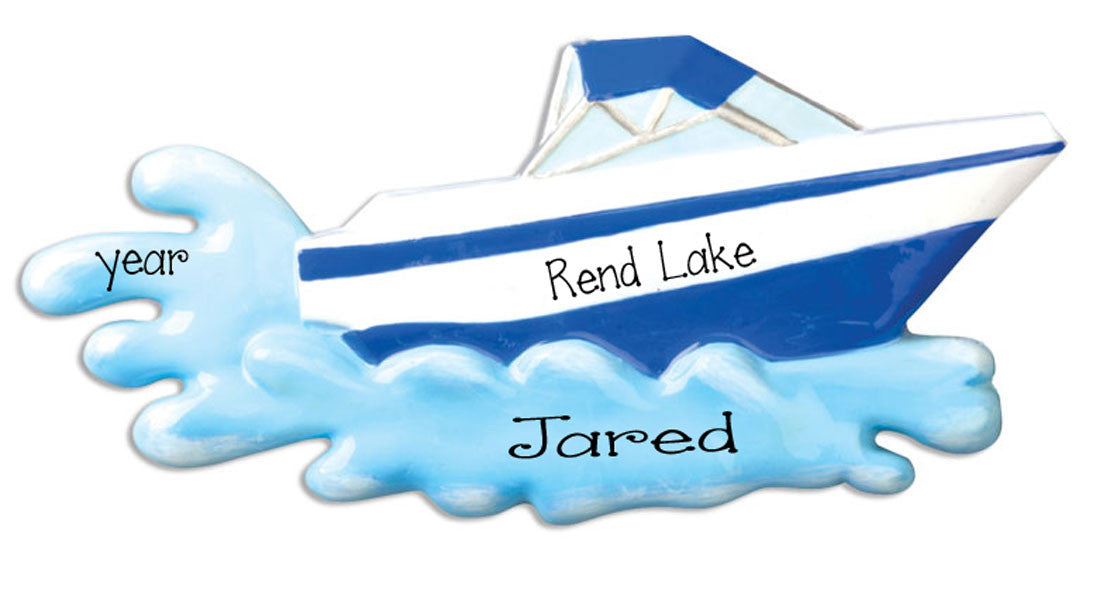 BLUE SPEED BOAT, MY PERSONALIZED ORNAMENTS