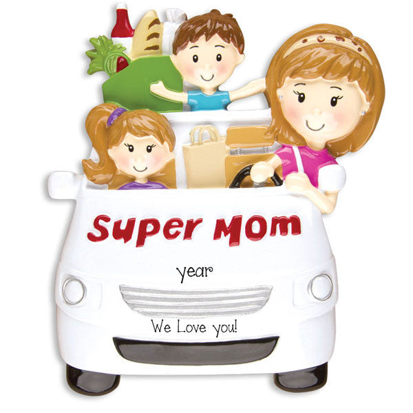 Super Mom~Personalized Christmas Ornament